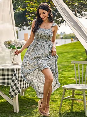 preiswerte Für Junge Frauen-Damen Swing Kleid Midikleid - Ärmellos Geometrisch Rüsche Sommer Sexy 2020 Gelb Grün S M L XL