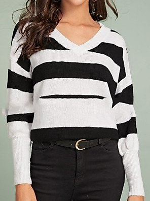 cheap Women's T-shirts-Women's Striped Pullover Long Sleeve Sweater Cardigans V Neck White