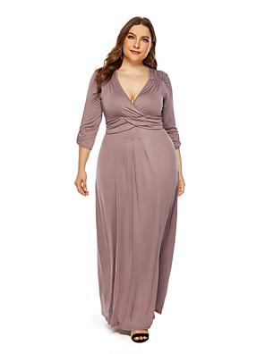 cheap Plus Size Dresses-Women's Sheath Dress Maxi long Dress - 3/4 Length Sleeve Solid Color Fall Sexy 2020 Wine Black Blue Khaki L XL XXL XXXL