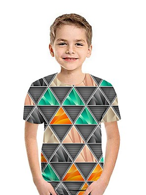 cheap Boys' Tops-Kids Boys' Street chic Geometric Short Sleeve Tee Blue