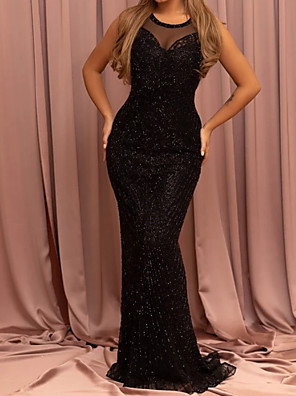 cheap Evening Dresses-Mermaid / Trumpet Sexy Sparkle Engagement Formal Evening Dress Illusion Neck Sleeveless Sweep / Brush Train Sequined with Sequin 2020