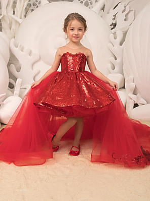 cheap Flower Girl Dresses-Ball Gown Court Train Wedding / Party Flower Girl Dresses - Tulle Sleeveless Strapless with Bow(s) / Appliques / Paillette