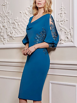cheap Evening Dresses-Sheath / Column Mother of the Bride Dress Elegant V Neck Knee Length Lace Satin 3/4 Length Sleeve with Appliques 2020