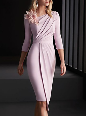 cheap Bridesmaid Dresses-Sheath / Column Mother of the Bride Dress Elegant Bateau Neck Knee Length Stretch Satin 3/4 Length Sleeve with Ruching Flower 2020