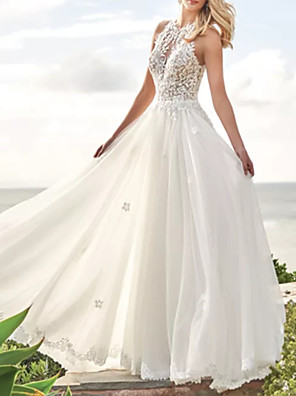 cheap Evening Dresses-A-Line Wedding Dresses Jewel Neck Sweep / Brush Train Lace Satin Tulle Sleeveless Beach with Appliques 2020