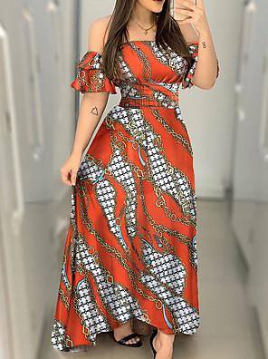 cheap Plus Size Dresses-Women's A-Line Dress Maxi long Dress - Short Sleeves Print Summer Sexy 2020 Orange S M L XL