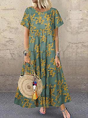 cheap Women's Blouses & Shirts-Women's A-Line Dress Maxi long Dress - Short Sleeves Floral Summer Boho 2020 Green Gray S M L XL XXL XXXL