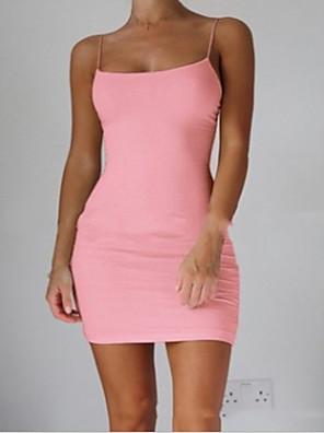cheap Mini Dresses-Women's Strap Dress Short Mini Dress - Sleeveless Summer Basic Sexy Slim 2020 White Black Blushing Pink Brown Gray S M L XL XXL