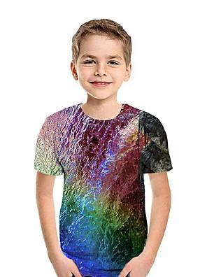 cheap Boys' Tops-Kids Boys' Street chic 3D Short Sleeve Tee Rainbow