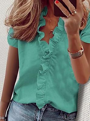 cheap Women's Blouses & Shirts-Women's Blouse Geometric Tops V Neck White Black Blue / Short Sleeve