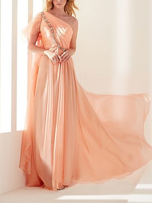 cheap Evening Dresses-Sheath / Column Elegant Beautiful Back Engagement Formal Evening Dress One Shoulder Short Sleeve Sweep / Brush Train Chiffon with Pleats Sequin 2020
