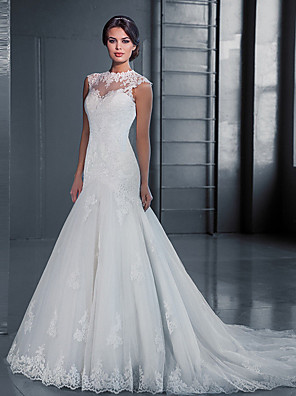 cheap Wedding Dresses-Mermaid / Trumpet Wedding Dresses Jewel Neck Court Train Lace Tulle Sleeveless Formal with Appliques 2020