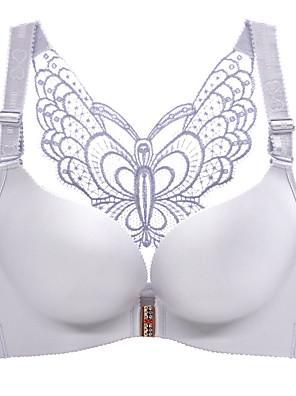 cheap Bras-Women's Push-up Wireless 3/4 Cup Bra Butterfly Wine Black Red