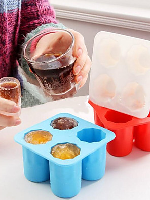 cheap Drinkware-4 Cup Shape Silicone Ice Cube Mold Shooters Shot Glass Ice Mould Ice Cube Tray Summer Bar Party Beer Ice Drink Tool Accessories