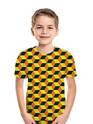 cheap Boys' Tops-Kids Boys' Street chic Geometric Short Sleeve Tee White