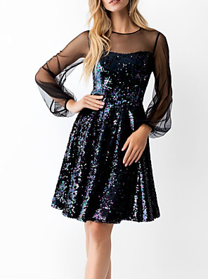 cheap Cocktail Dresses-A-Line Little Black Dress Sparkle Homecoming Cocktail Party Dress Illusion Neck Long Sleeve Knee Length Sequined with Sequin 2020