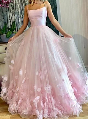 cheap Evening Dresses-A-Line Elegant Floral Engagement Prom Dress Spaghetti Strap Sleeveless Floor Length Tulle with Pleats Appliques 2020