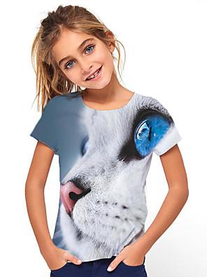 cheap Boys' Tops-Kids Girls' Basic Cat Animal Print Short Sleeve Tee Light Blue