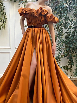 cheap Evening Dresses-Ball Gown Luxurious Vintage Engagement Formal Evening Dress Off Shoulder Short Sleeve Sweep / Brush Train Satin with Pleats Split 2020