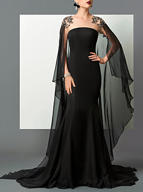 cheap Evening Dresses-Mermaid / Trumpet Elegant Empire Engagement Formal Evening Dress Strapless Sleeveless Sweep / Brush Train Chiffon with Sleek 2020