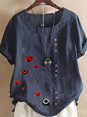 cheap Women's Blouses & Shirts-Women's T-shirt Graphic Round Neck Tops Loose Cotton Summer Blue Light Green Light Blue