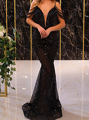 cheap Evening Dresses-Mermaid / Trumpet Sexy Sparkle Engagement Prom Dress Spaghetti Strap Short Sleeve Floor Length Sequined with Tassel 2020