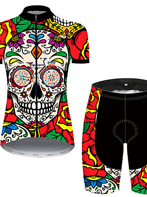 cheap Women's T-shirts-21Grams Women's Short Sleeve Cycling Jersey with Shorts Nylon Polyester Black / Red Skull Floral Botanical Rose Bike Clothing Suit Breathable 3D Pad Quick Dry Ultraviolet Resistant Reflective Strips