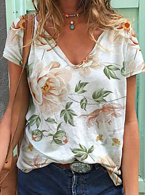 cheap Socks & Hosiery-Women's T-shirt Floral Print V Neck Tops Summer White