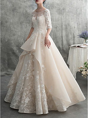 cheap Prom Dresses-A-Line Wedding Dresses Jewel Neck Floor Length Lace Tulle Half Sleeve Formal Elegant with Ruffles Appliques 2020