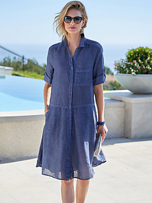 cheap Casual Dresses-Women's Shift Dress Knee Length Dress - Half Sleeve Solid Color Summer Casual Daily 2020 Blue S M L XL XXL