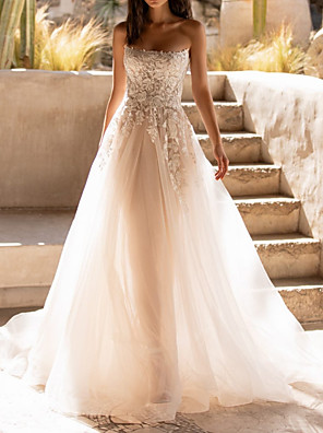 cheap Wedding Dresses-A-Line Wedding Dresses Sweetheart Neckline Sweep / Brush Train Tulle Sleeveless Formal See-Through with Appliques 2020