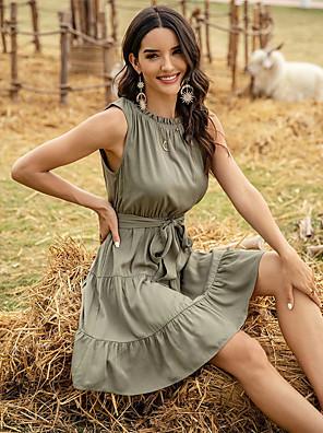 Χαμηλού Κόστους Για νεαρές γυναίκες-Γυναικεία Φόρεμα σε ευθεία γραμμή Μίνι φόρεμα - Αμάνικο Συμπαγές Χρώμα Patchwork Καλοκαίρι Καθημερινό 2020 Πράσινο του τριφυλλιού Τ M L XL