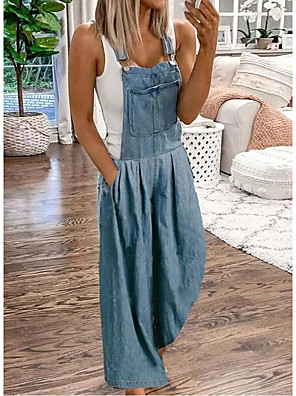 cheap Women's T-shirts-Women's Basic Causal Daily Street Blue Jumpsuit Solid Colored / Wide Leg