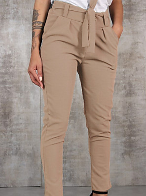 cheap Women's Pants-Women's Loose Chinos Pants - Solid Colored Black Army Green Khaki S / M / L