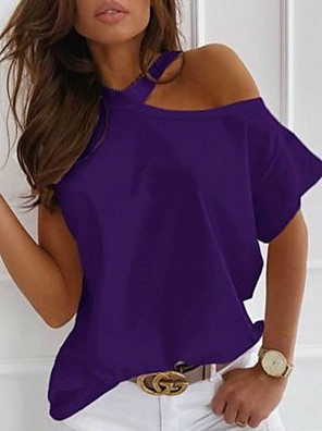 cheap Women's Blouses & Shirts-Women's Blouse Solid Colored One Shoulder Round Neck Tops Loose Basic Top White Black Purple
