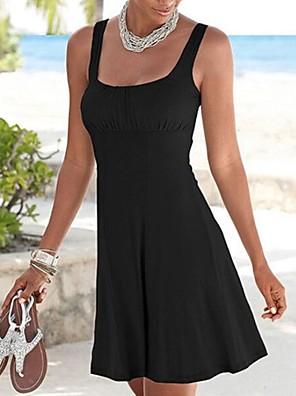 cheap Print Dresses-Women's A-Line Dress Knee Length Dress - Sleeveless Solid Color Summer Casual 2020 Black S M L XL XXL