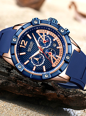 cheap Sport Watches-MEGIR Men's Sport Watch Quartz Modern Style Sporty Outdoor Water Resistant / Waterproof Silicone Black / Blue Analog - Black / Silver Black+Gloden Blue Two Years Battery Life / Calendar / date / day