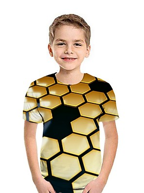 cheap Boys' Tops-Kids Boys' Street chic Geometric Short Sleeve Tee Wine
