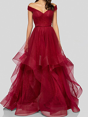 cheap Prom Dresses-A-Line Elegant Beautiful Back Wedding Guest Prom Dress V Neck Sleeveless Floor Length Tulle with Tier 2020