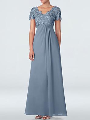 cheap Evening Dresses-Sheath / Column Mother of the Bride Dress Elegant V Neck Floor Length Chiffon Lace Short Sleeve with Appliques 2020