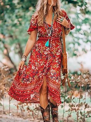 preiswerte Für Junge Frauen-Damen A-Linie Kleid Midikleid - Kurzarm Blumen Sommer V-Ausschnitt Freizeit 2020 Blau Purpur Rote Gelb Grün M L XL XXL XXXL XXXXL