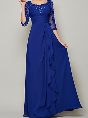 cheap Evening Dresses-A-Line Mother of the Bride Dress Elegant Scalloped Neckline Floor Length Chiffon Half Sleeve with Pleats Beading 2020