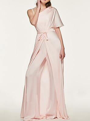 cheap Prom Dresses-Jumpsuits One Shoulder Sweep / Brush Train Chiffon Bridesmaid Dress with Sash / Ribbon / Pleats