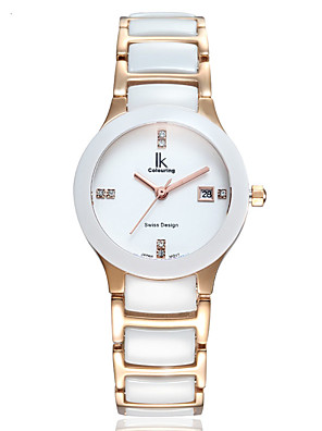 cheap Quartz Watches-Women's Quartz Watches Quartz Stylish Elegant Water Resistant / Waterproof Ceramic White Analog - White+Gold White / Calendar / date / day