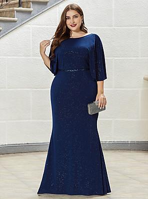 cheap Evening Dresses-Mermaid / Trumpet Mother of the Bride Dress Elegant Plus Size Jewel Neck Floor Length Nylon Half Sleeve with Sash / Ribbon 2020
