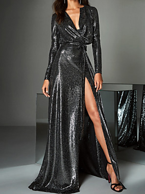 cheap Evening Dresses-A-Line Beautiful Back Sparkle Party Wear Prom Dress V Neck Long Sleeve Sweep / Brush Train Sequined with Sequin Split 2020