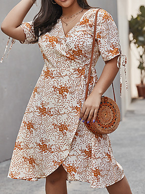 cheap Casual Dresses-Women's A-Line Dress Knee Length Dress - Short Sleeves Floral Spring Casual Elegant 2020 Light Brown XL XXL XXXL XXXXL