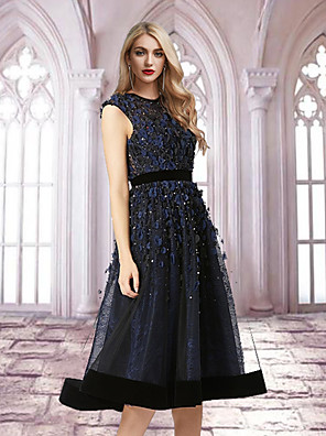cheap Prom Dresses-A-Line Elegant Floral Engagement Cocktail Party Dress Jewel Neck Sleeveless Tea Length Tulle with Appliques 2020