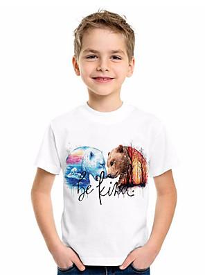 cheap Boys' Tops-Kids Boys' Basic Animal Print Short Sleeve Tee White
