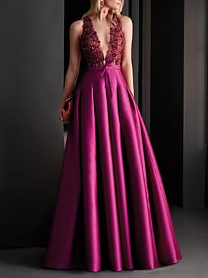 cheap Evening Dresses-A-Line Elegant Floral Engagement Formal Evening Dress V Neck Sleeveless Floor Length Satin with Pleats Appliques 2020
